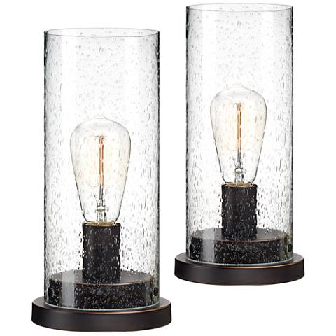 """Libby Seeded 12"""" high Glass Edison Accent Lamp Set of 2"""