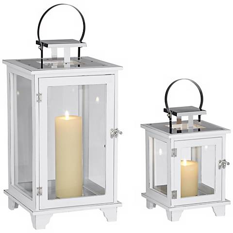 Rachael Set of 2 Wide White Lantern Candle Holders