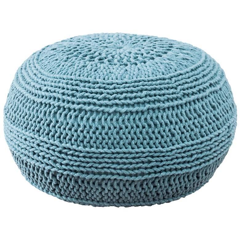 "Aqua Blue 20"" Wide Roped Cotton Pouf Ottoman"
